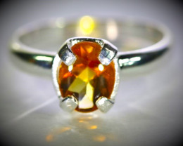 Citrine 1.30ct Platinum Finish Solid 925 Sterling Silver Ring