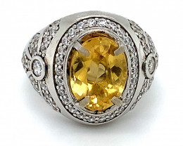 Citrine 2.85ct Platinum Finish Solid 925 Sterling Silver Ring