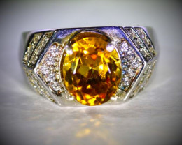 Madeira Citrine 3.48ct Platinum Finish Solid 925 Sterling Silver Ring
