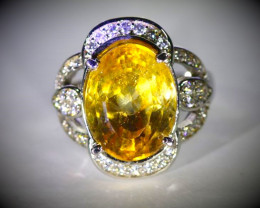 Citrine 5.10ct Platinum Finish Solid 925 Sterling Silver Ring