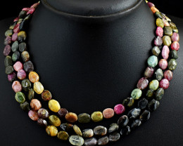 3 Line Watermelon  Tourmaline  Beads Necklace