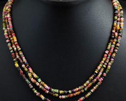 Watermelon Tourmaline  Beads Necklace