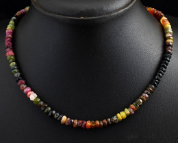 Faceted Watermelon Tourmaline  Beads Necklace