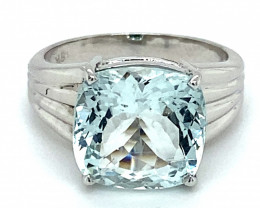 Aquamarine 5.22ct Solid 18K White Gold Ring