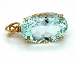 Aquamarine 13.47ct Solid 22K Yellow Gold Pendant, Natural and Untreated, Ov