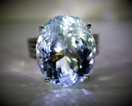 Aquamarine 23.81ct 18K Solid White Gold Ring, Natural, Untreated, Certified