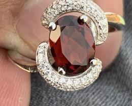 Natural Rhodolite Garnet with Cz Ring.