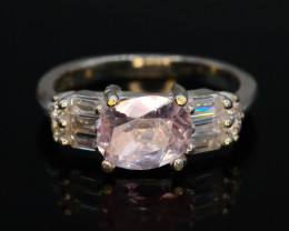 16.40 Ct Silver Ring ~ With Natural Pink Morganite Stone