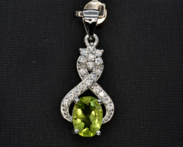 Natural Green Peridot 14.48 Cts CZ and  Silver Pendant