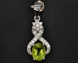 Natural Green Peridot 14.60 Cts CZ and  Silver Pendant