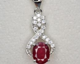 Beautiful Glass Filled Ruby CZ Pendant