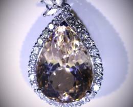 Imperial Topaz 22.58ct Natural Diamonds Solid 950 Platinum Pendant