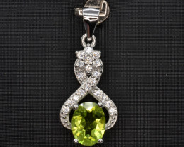 Natural Green Peridot 14.85 Cts CZ and  Silver Pendant