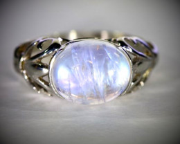 Moonstone 4.10ct Platinum Finish Solid 925 Sterling Silver Ring