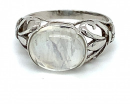 Rainbow Moonstone 4.10ct Platinum Finish Solid 925 Sterling Silver Ring