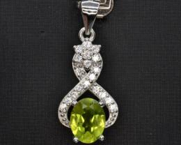 Natural Green Peridot 15.01 Cts CZ and  Silver Pendant