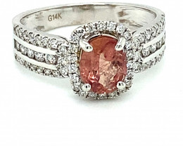 Padparadscha Sapphire 1.20ct Diamonds Solid 14K White Gold Ring