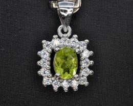 Natural Green Peridot 16.05 Cts CZ and  Silver Pendant