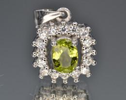 Natural Green Peridot 16.23 Cts CZ and  Silver Pendant