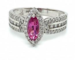 Pink Sapphire .80ct Diamonds Solid 950 Platinum Ring