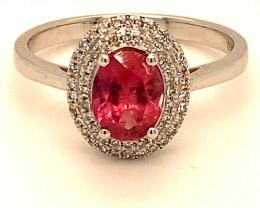 Pink Sapphire 1.30ct Natural Diamonds Solid 950 Platinum Cocktail Ring, Nat