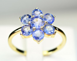 Natural Tanzanite , CZ 925 Silver Ring