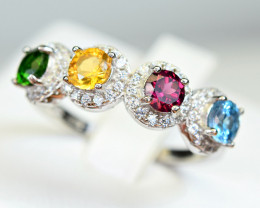 Natural Multi color stones , CZ 925 Silver Ring