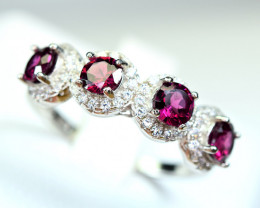 Natural Nice color Rhodonite ,CZ 925 Silver Nice Design Ring