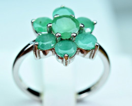 Natural Green Emerald 925 Silver Ring