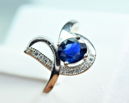 Heated blue Natural Sapphire ,CZ 925 Silver Ring