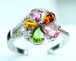 Natural Multi Tourmaline,Chrome Diopside ,CZ 925 Silver Ring