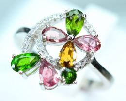 Natural Multi color stones , CZ 925 Silver Ring