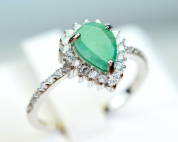 Natural Emerald,CZ 925 Silver Ring