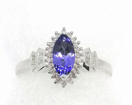 Natural Tanzanite and Diamond Ring 1.00tcw.