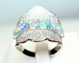 Natural Multi Fire several Opal Cabochon,CZ 925 Silver Ring