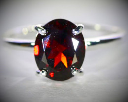 Pyrope 2.55ct Platinum Finish Solid 925 Sterling Silver Ring