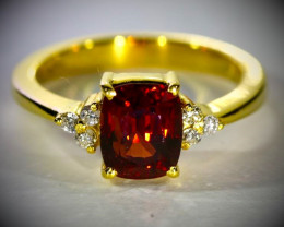 Red Mogok Spinel 3.02ct with Natural Diamonds Solid 18K Yellow Gold Multist