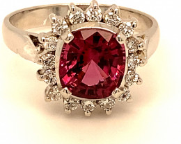 Red Pinkish Spinel 4.28ct Natural Diamonds Solid 18K White Gold Cocktail Ri