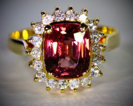 Red Spinel 3.43ct Natural Diamonds Solid 18K Yellow Gold Cocktail Ring