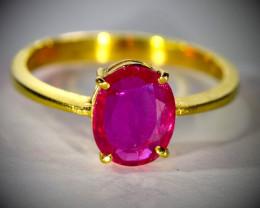 GIA Certified Tajik Ruby 1.50ct Solid 22K Yellow Gold Ring