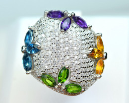 Natural Multi color stones , CZ 925 Silver Nice Design Ring