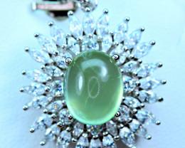 Natural Green Prehnite ,CZ Nice 925 Silver Pendant