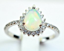 Natural Multi Fire Opal Cabochon,CZ 925 Silver Ring
