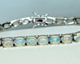 Natural Multi Fire 25 Pis Opal Cabochon 925 Silver Bracelets