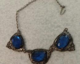 ANTIQUE MAX NEIGER BRACELET SAPPHIRE BLUE CZECH  / 1900S