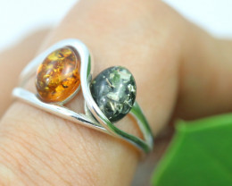 Natural Baltic Amber Sterling Silver Ring size 6 code GI 339