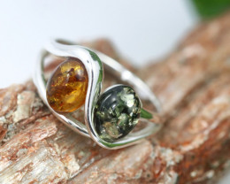 Natural Baltic Amber Sterling Silver Ring size 7 code GI 342