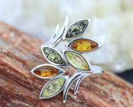 Natural Baltic Amber Sterling Silver Ring size 10 code GI 349
