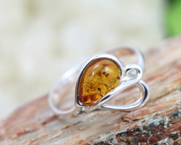 Natural Baltic Amber Sterling Silver Ring size 7 code GI 354