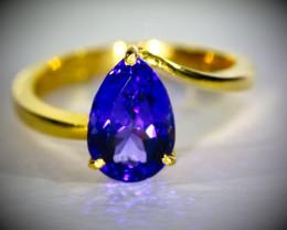 High Grade Tanzanite 3.78ct Solid 22K Yellow Gold Ring